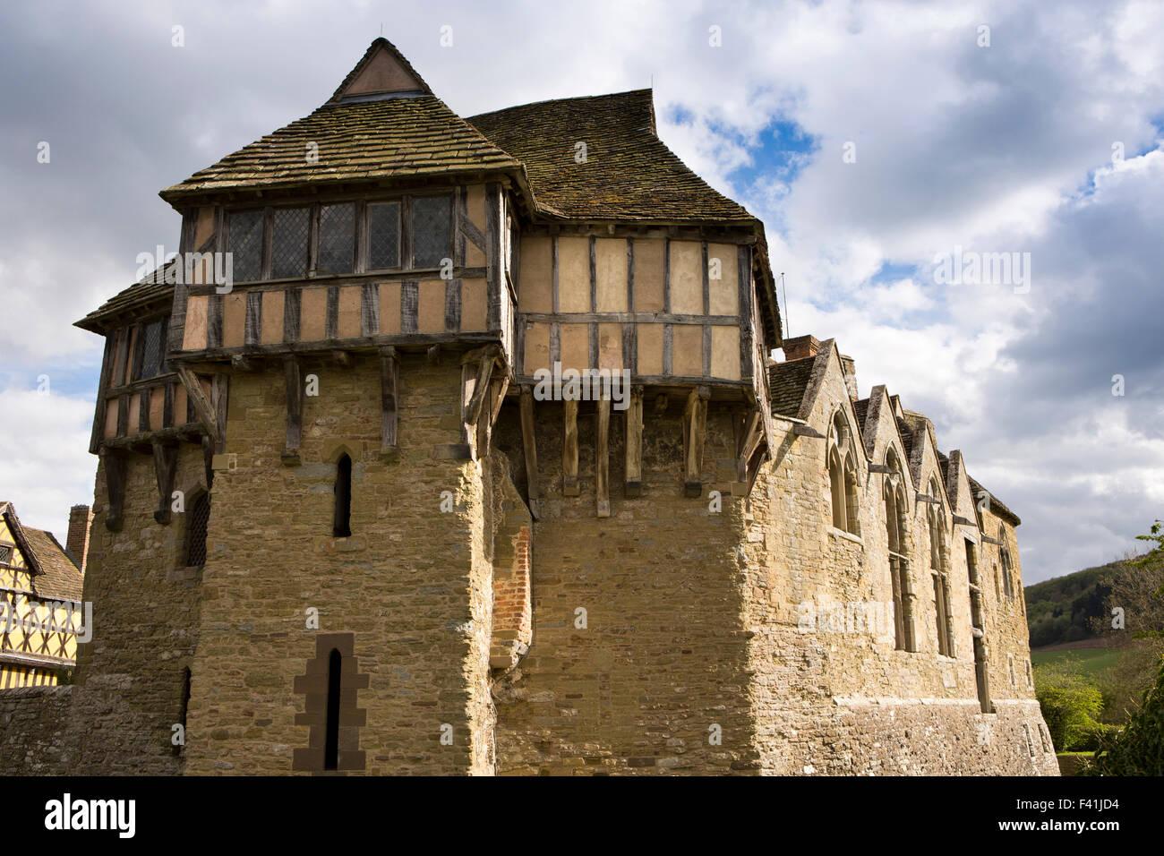 Reino Unido, Inglaterra, Shropshire, Craven Arms, Stokesay Castle Torre Norte Foto de stock