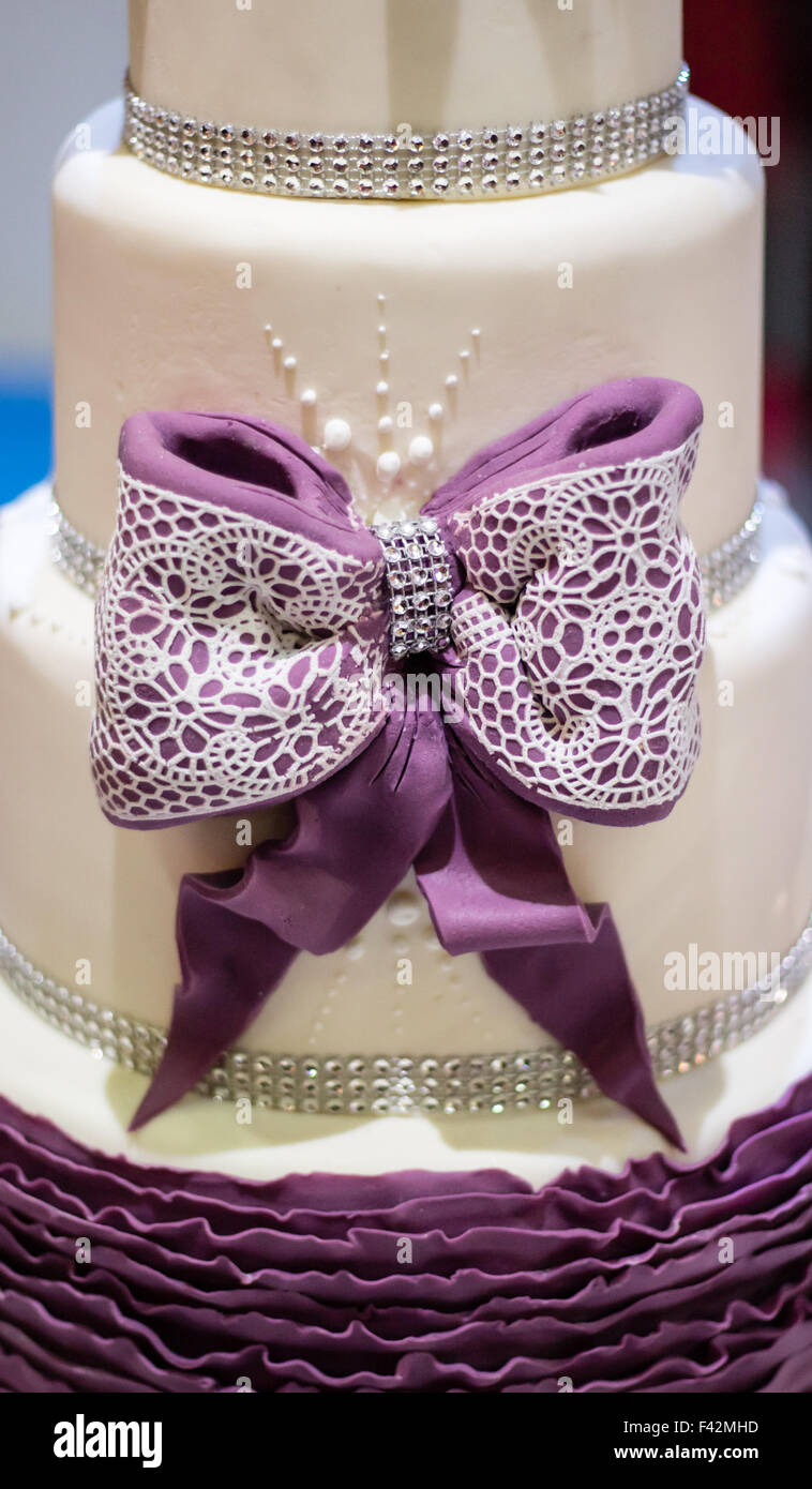 Elegante decoración de pasteles, cinta Imagen De Stock