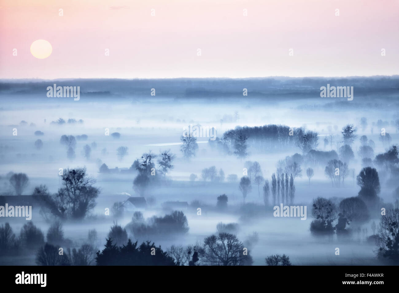 Vista desde Mont-Dol, Bretaña, Francia Imagen De Stock