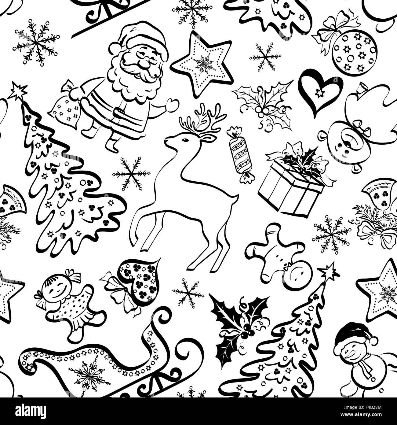 Navidad patrón sin fisuras, contour Imagen De Stock