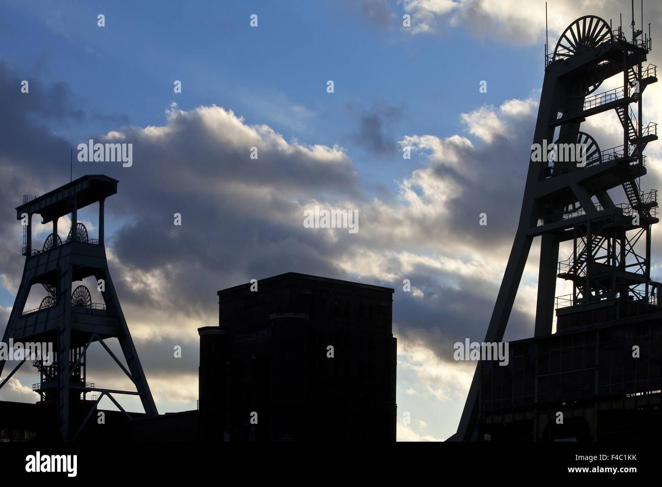 Headframes colliery Ewald, Herten, Alemania Foto de stock