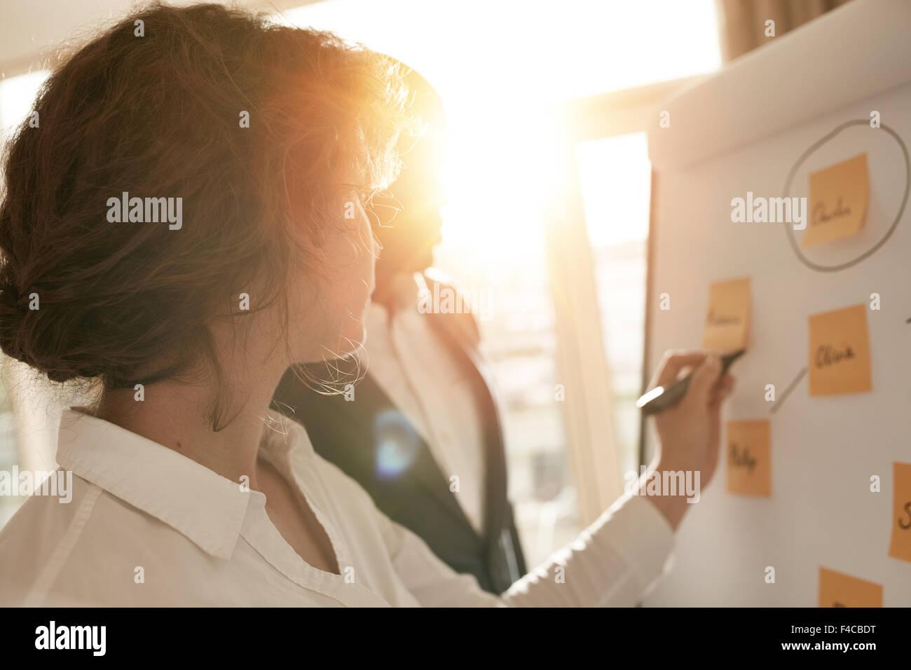 Asociados de negocios poniendo sus ideas en la cartelera durante una presentación en la sala. Dos compañeros Imagen De Stock