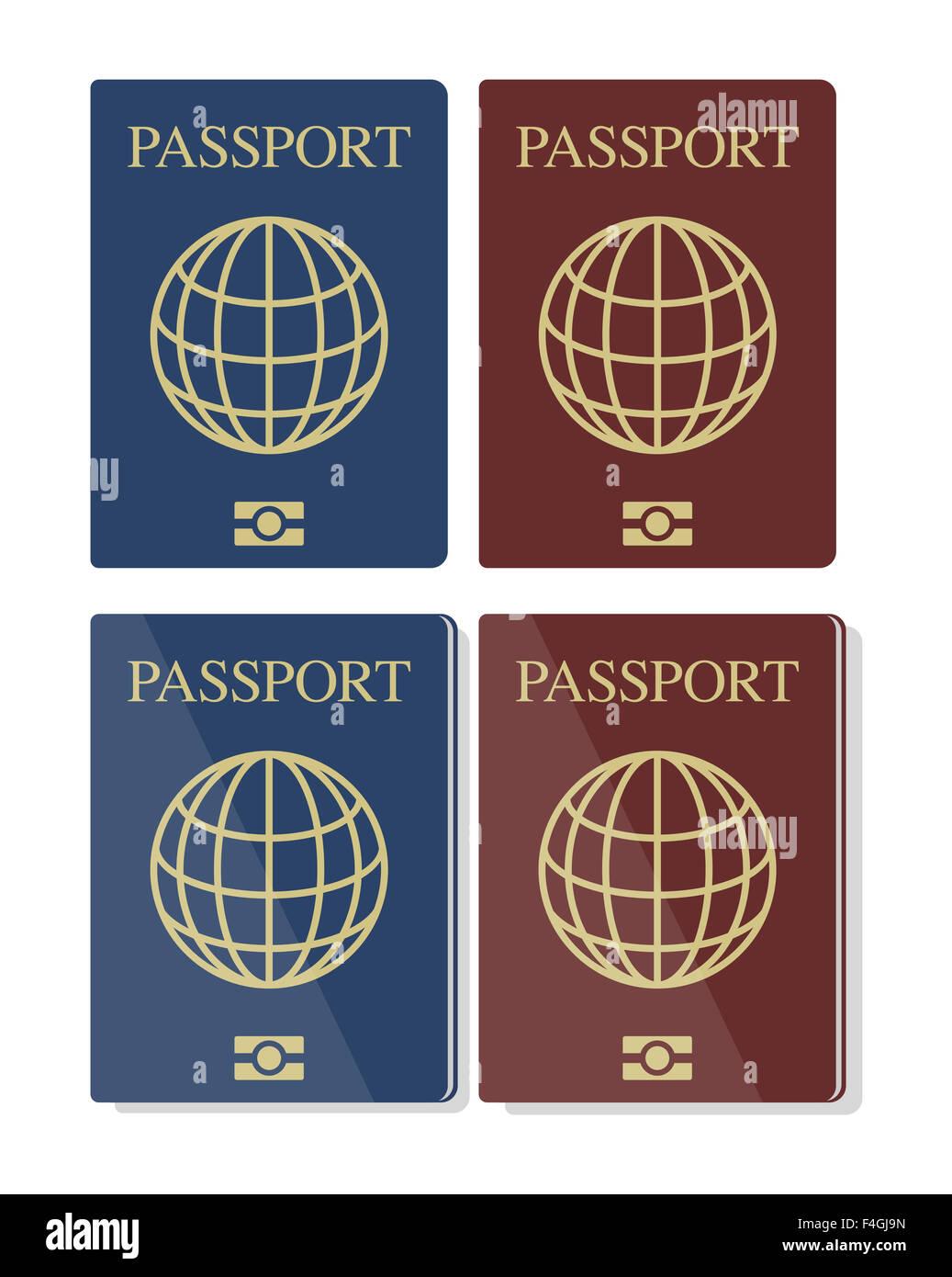 Conjunto de vectores del azul y el rojo de los pasaportes biométricos con Globe, eps10, aislado sobre fondo Imagen De Stock