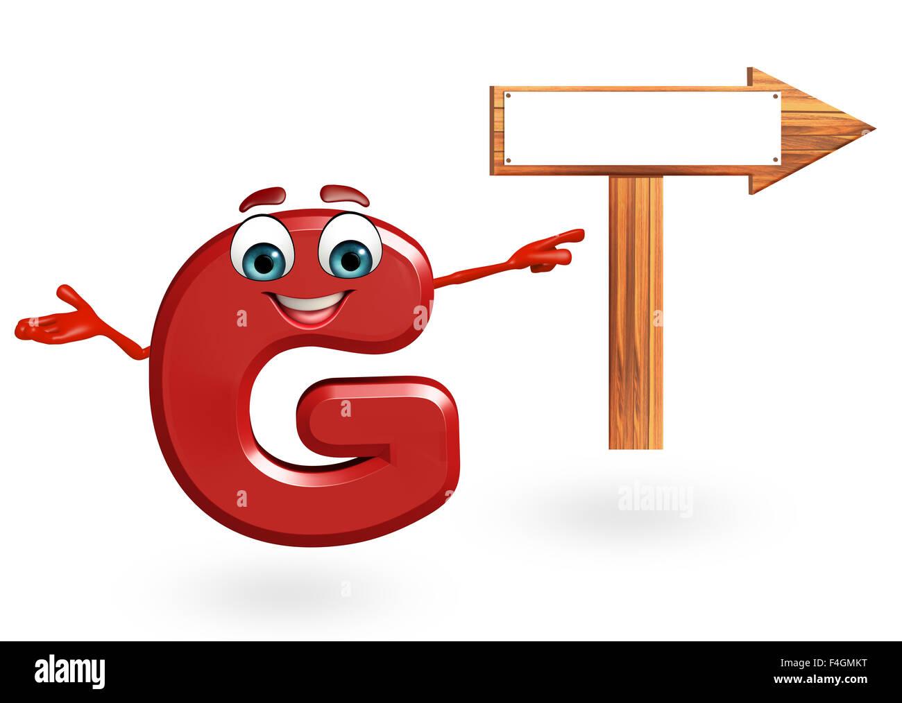 Ilustración 3D Prestados De Alfabeto G Personaje De