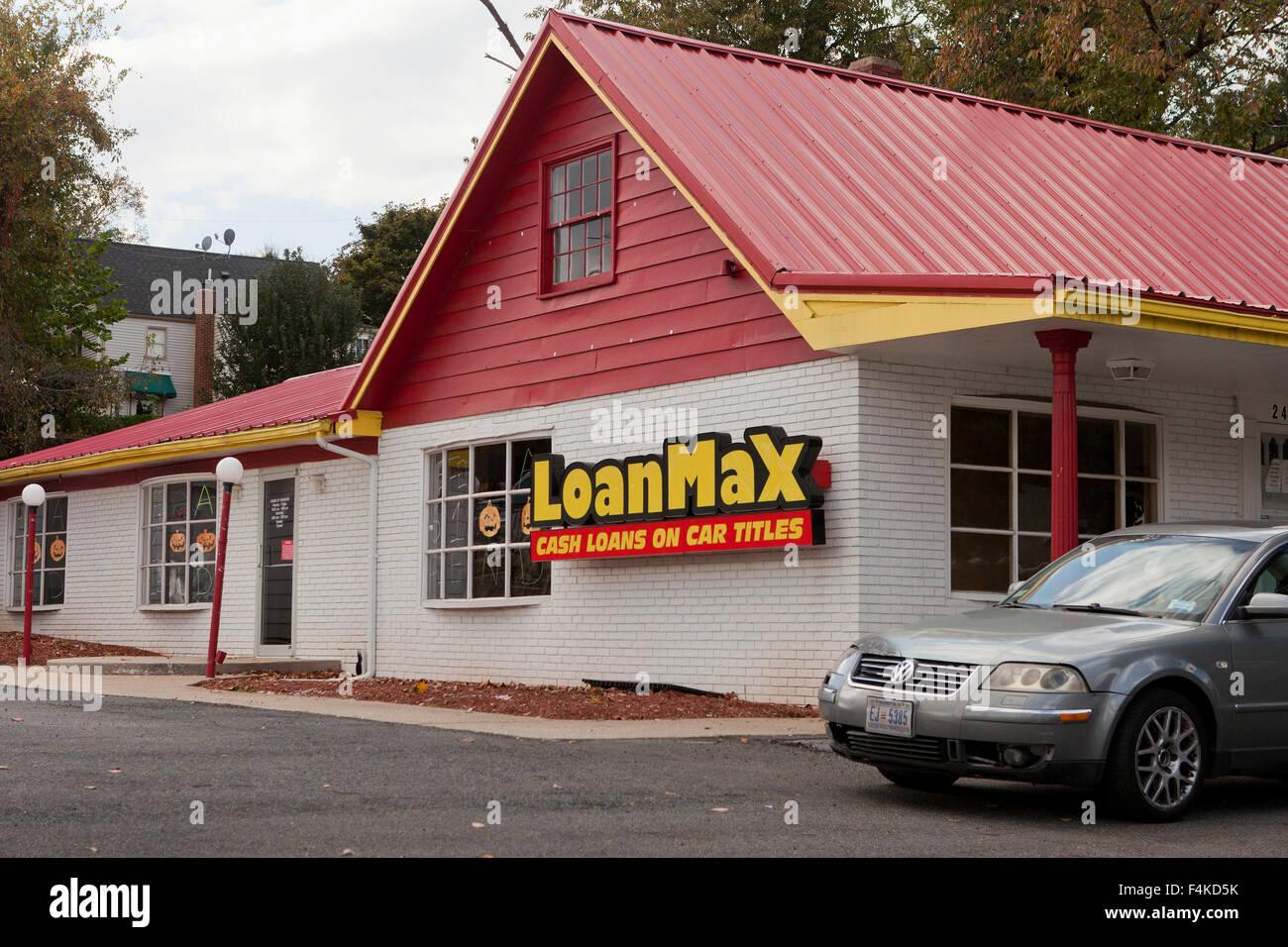 Compañía de préstamos de título de automóvil LoanMax - Virginia EE.UU. Imagen De Stock