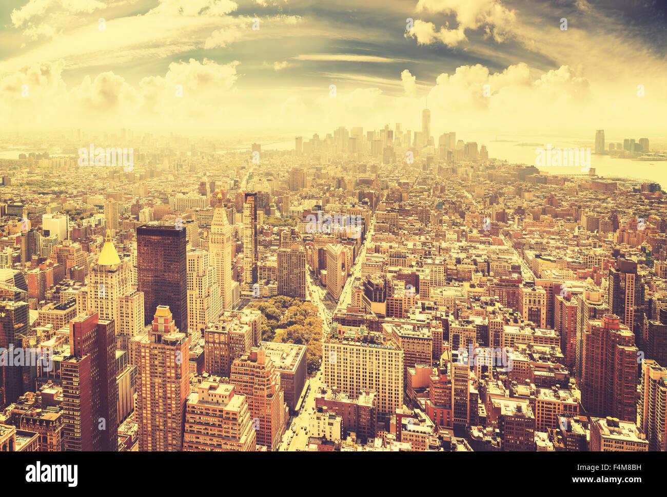 Tonos vintage de Manhattan, Ciudad de Nueva York, EE.UU. Imagen De Stock