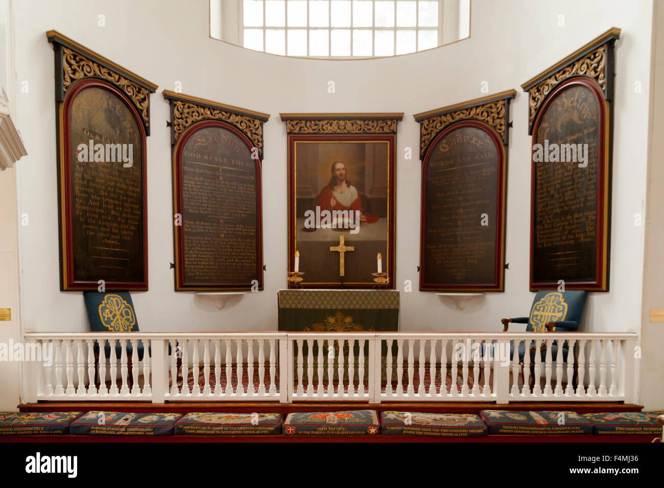 El altar, la Old North Church en el Freedom Trail de Boston, Massachusetts, EE.UU. Imagen De Stock