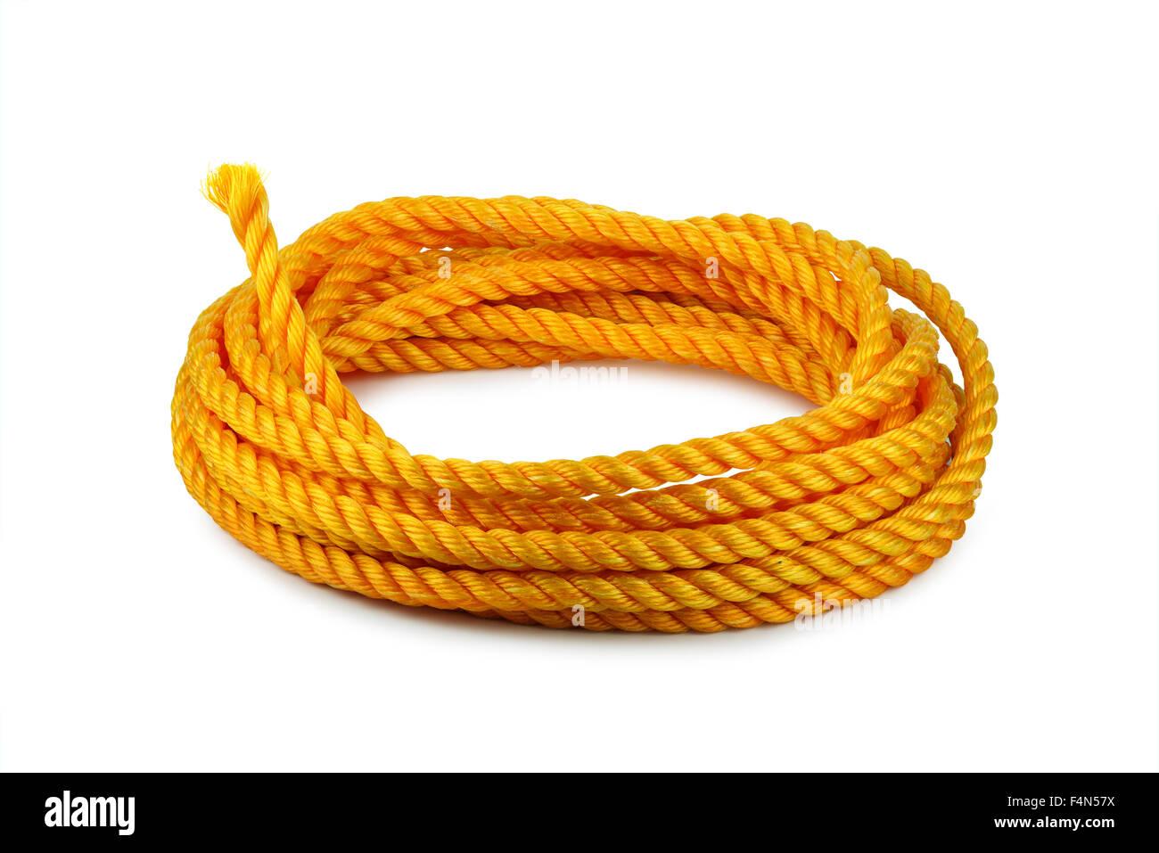 Cuerda naranja hank aislado en blanco Imagen De Stock