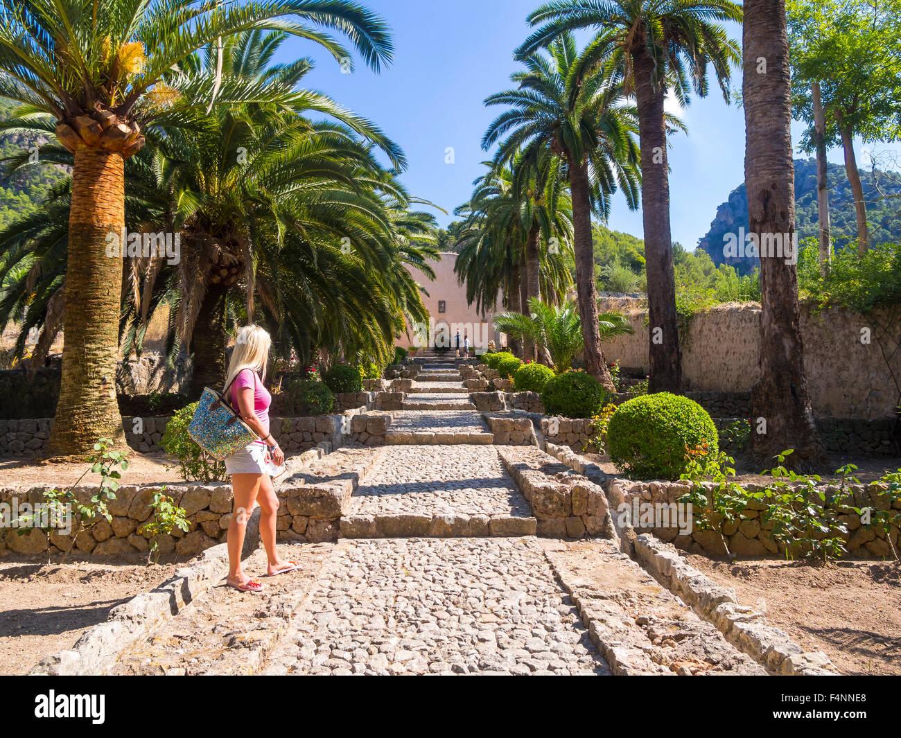 Los jardines de Alfàbia, los jardines árabes, la Sierra de Alfàbia, Mallorca, España Imagen De Stock