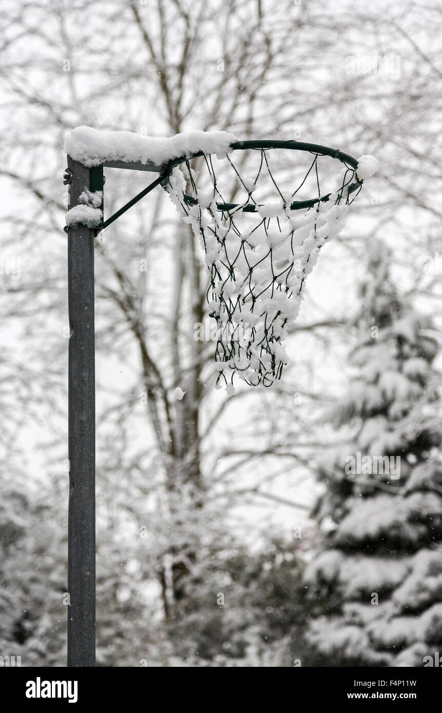 El balonvolea jalón con una cubierta de nieve en un día de invierno aburrido con apariencia casi monocromática, Imagen De Stock