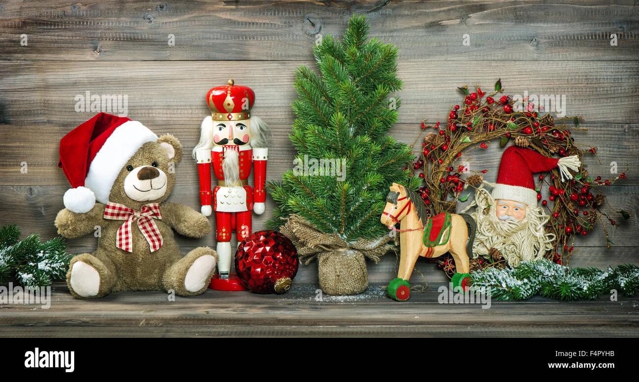 Vintage Decoración Navideña Teddy Bear Caballito Y