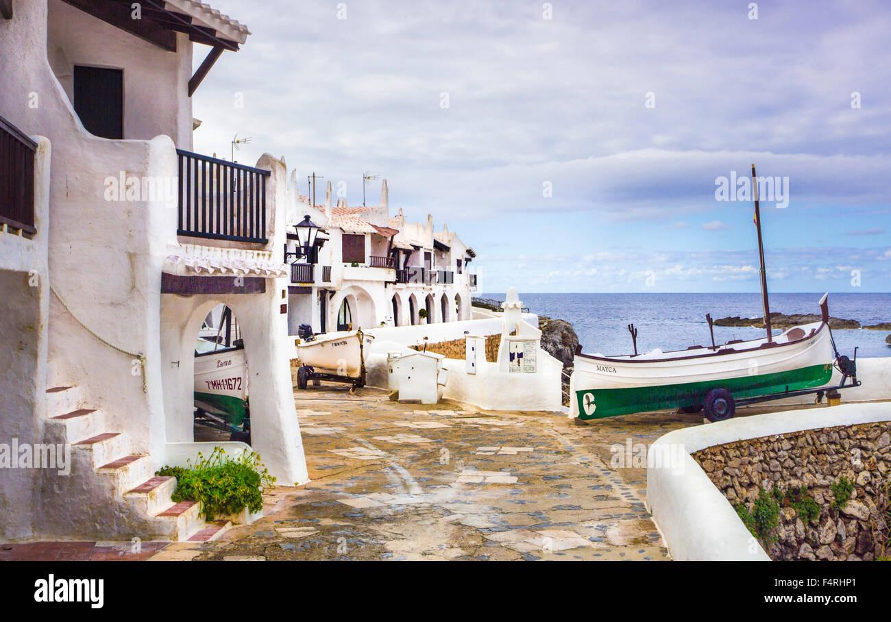 Islas Baleares, Binibeca, pueblo pesquero, Menorca, la isla, antiguo Binibeca, España, Europa, Primavera, ARCO, Imagen De Stock