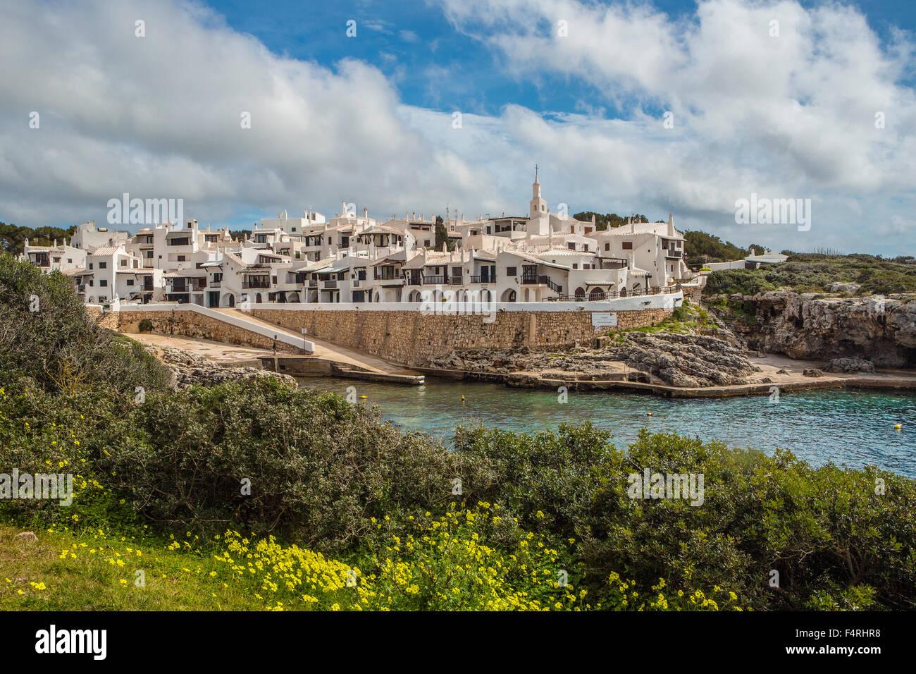 Islas Baleares, Binibeca, pueblo pesquero, Paisaje, Menorca, la isla, antiguo Binibeca, España, Europa, ARCO, Imagen De Stock