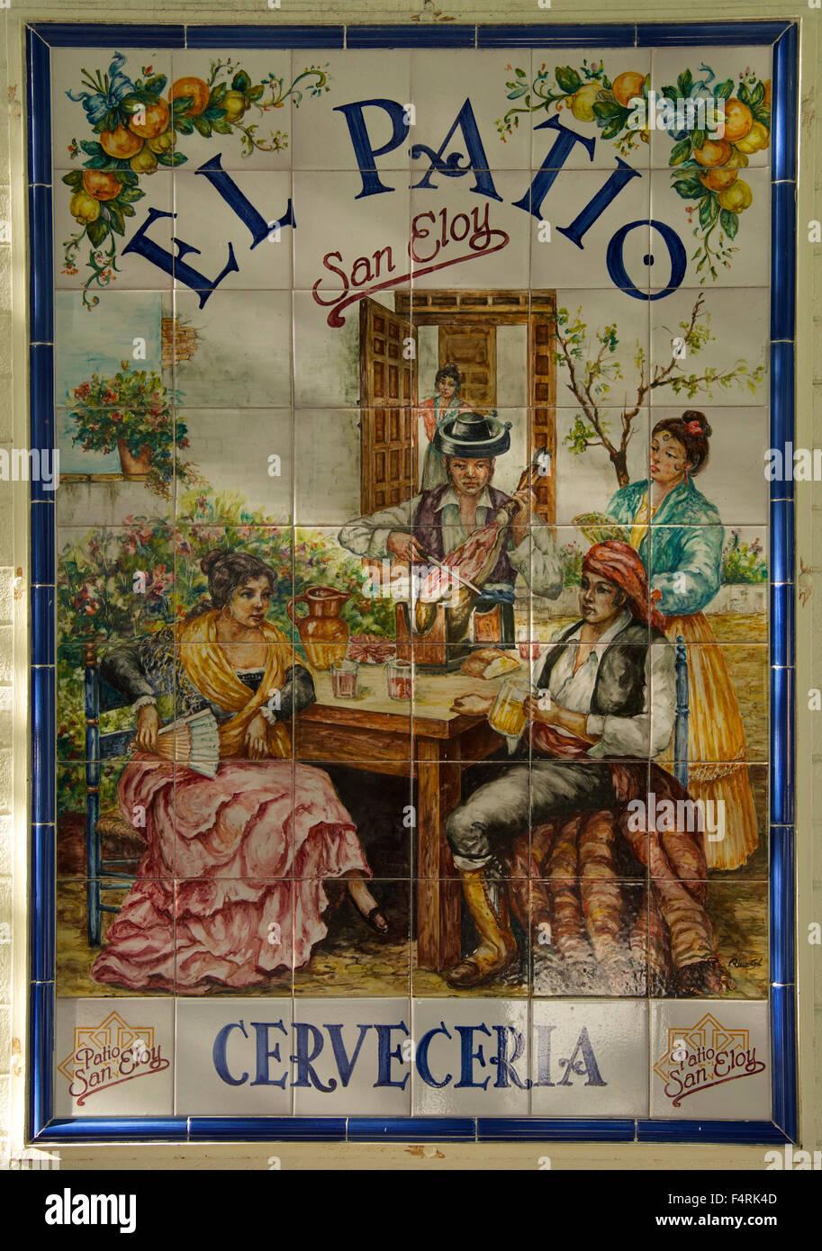 Andalucía, España, Europa, exterior, día, azulejos, baldosas, tradicional, Sevilla, detalle, nadie, Imagen De Stock