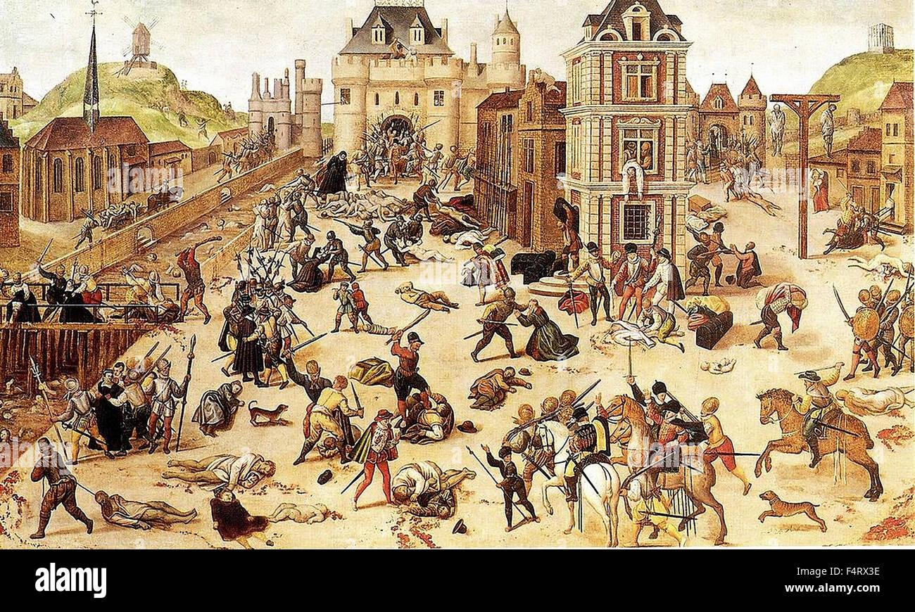 Masacre del Día de San Bartolomé en París Foto de stock