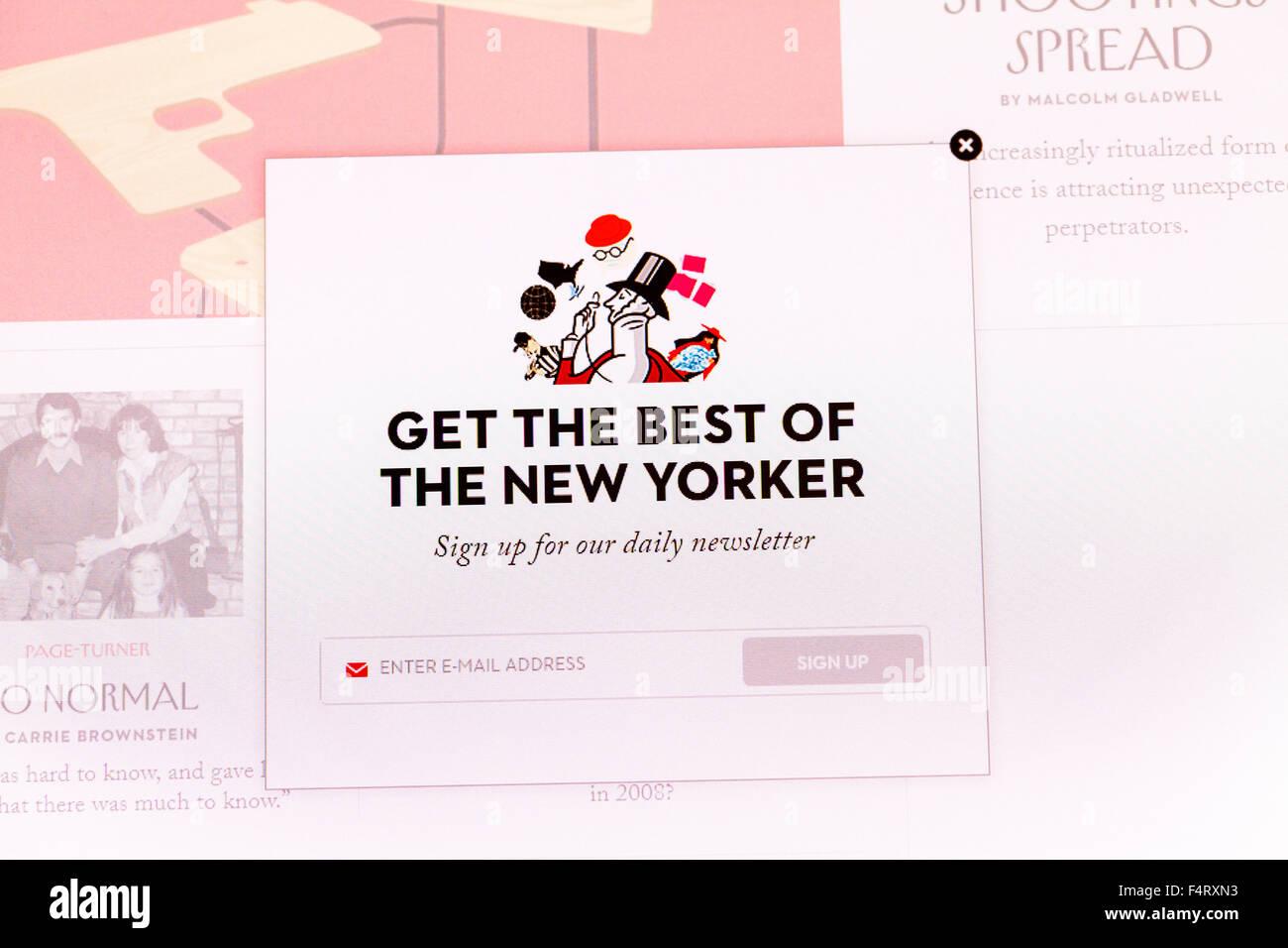 La página web de la revista New Yorker captura de pantalla en línea sitio web internet net Imagen De Stock