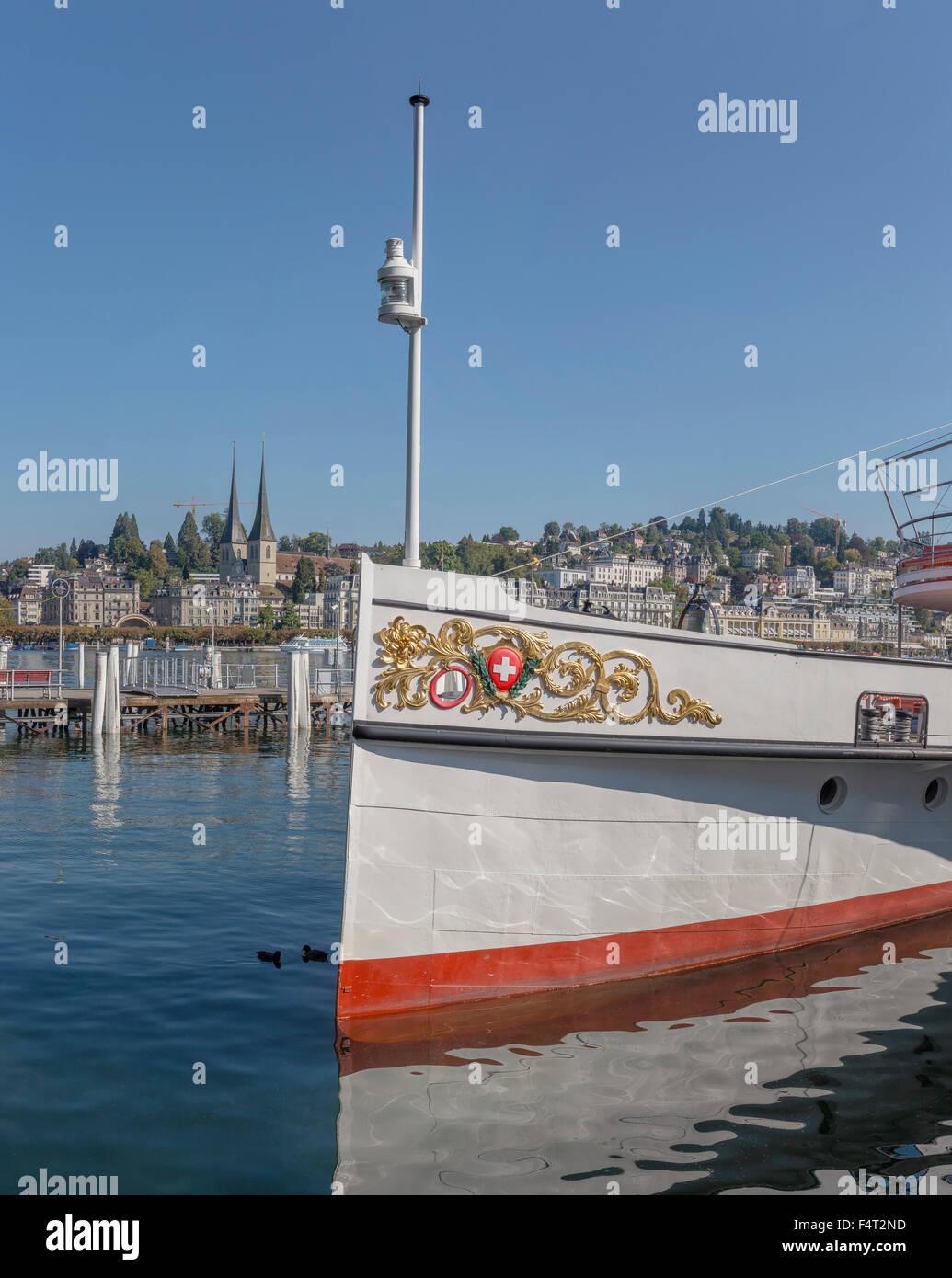 Suiza, Europa, Lucerna, Lucerna, un viaje de ida y vuelta, barco Vierwaldstättersee Schifffahrtgesellschaft, Imagen De Stock