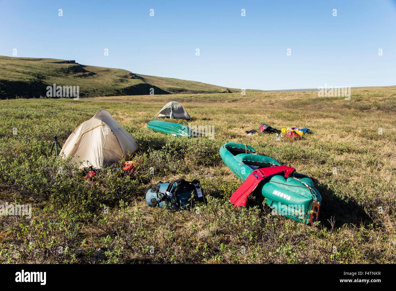 Camping, camping, expedición, reserva nacional del petróleo, la reserva de petróleo, Alaska, EE.UU., Imagen De Stock