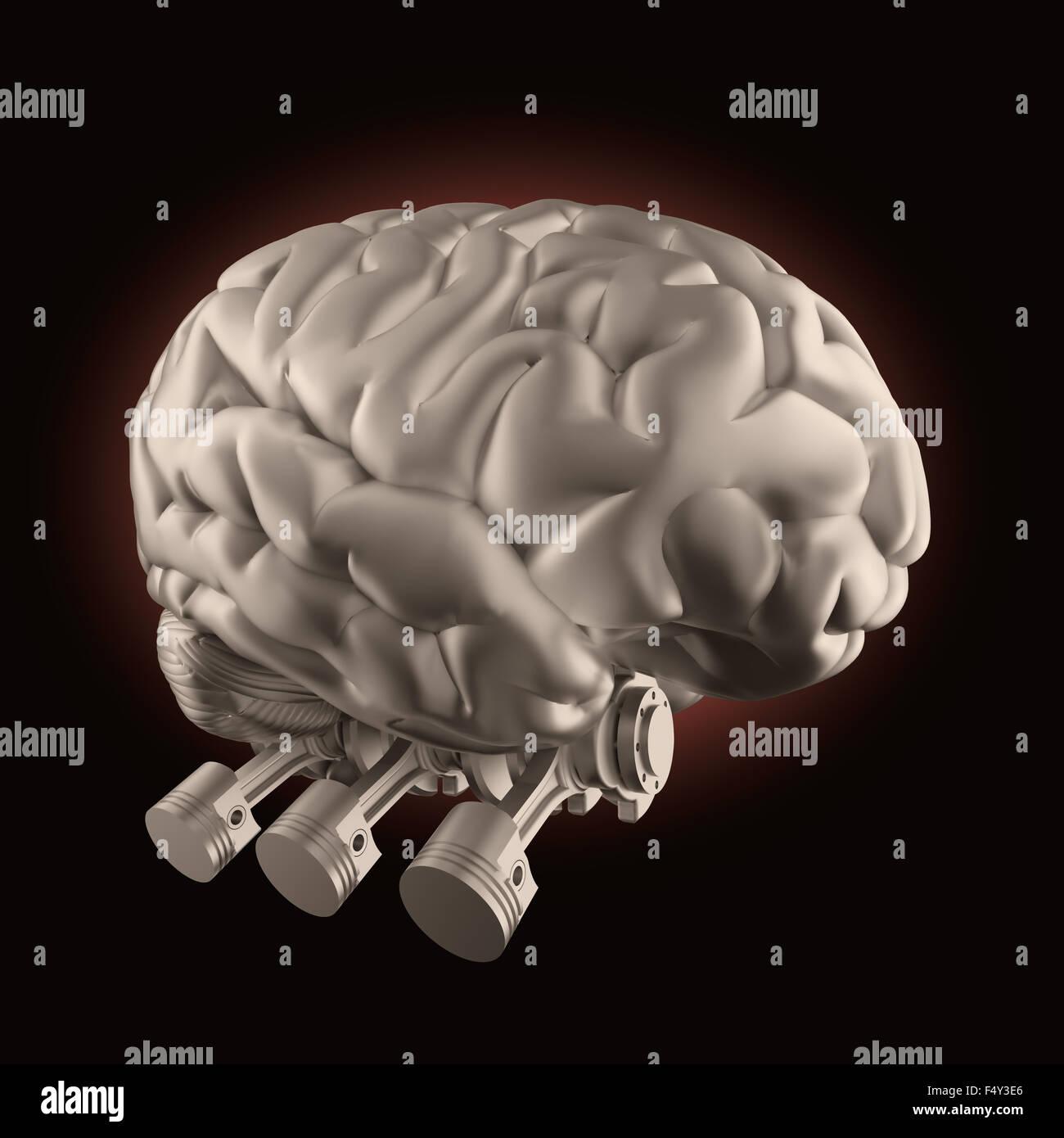 Cerebro con válvulas de motor de combustión - la estimulación cerebral y el concepto de alimentación Imagen De Stock