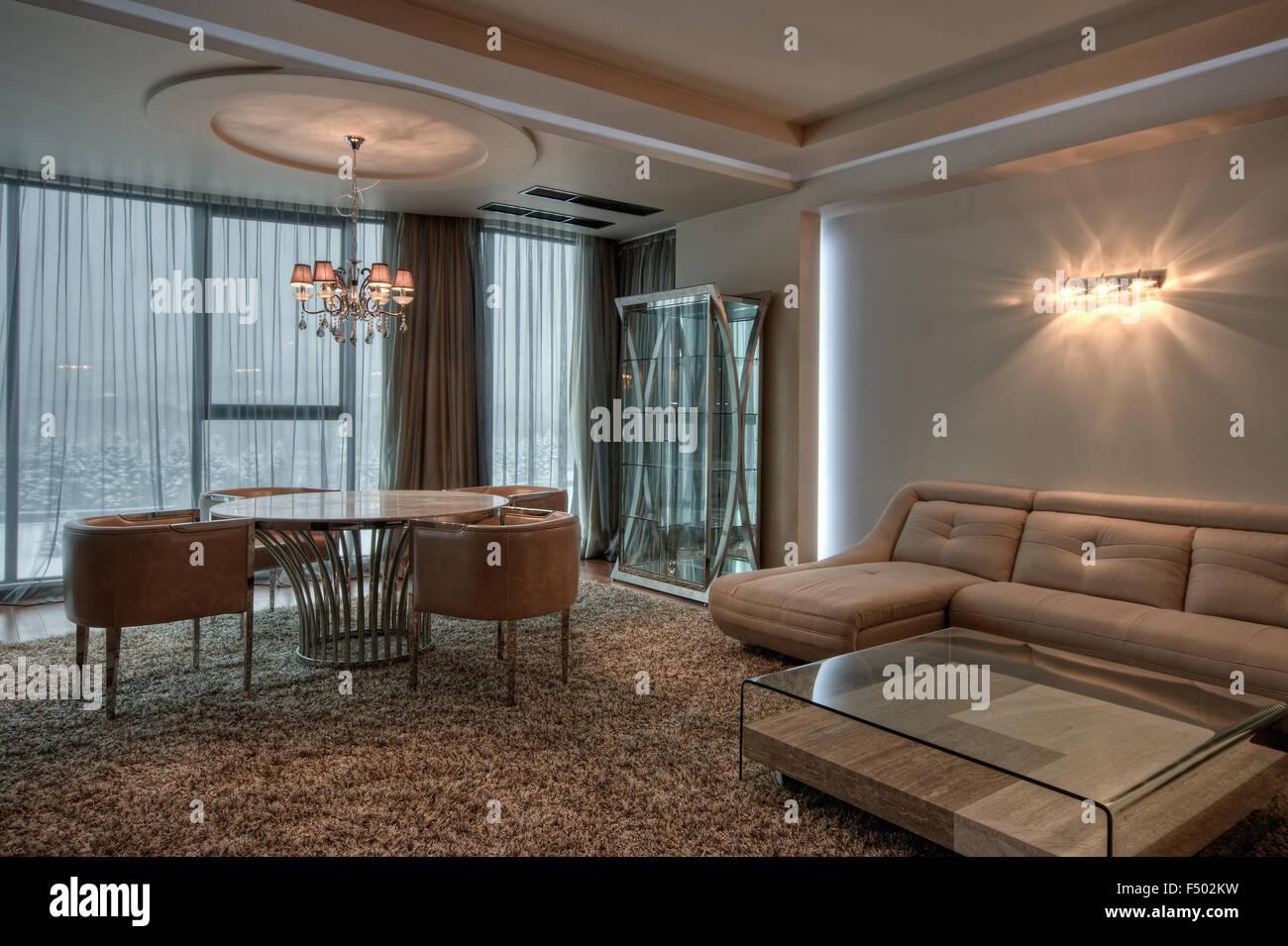 Elegante y moderno interior acogedor. Decoración de ambiente. Un diseño contemporáneo y minimalista. Imagen De Stock