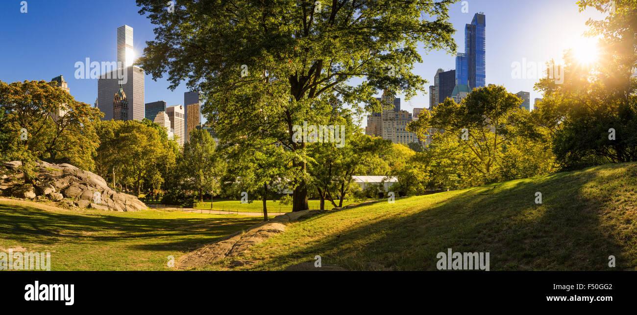 Por la tarde vista panorámica del Parque Central en verano con rascacielos de Manhattan, Ciudad de Nueva York Imagen De Stock