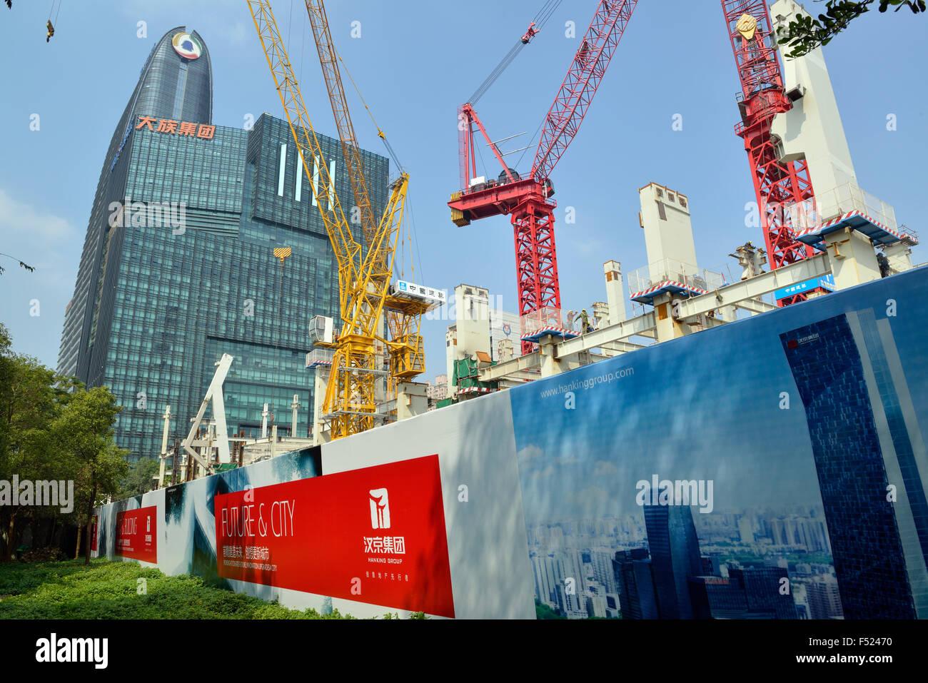 Un sitio de construcción en el parque de alta tecnología en el distrito de Nanshan, Shenzhen, China. Imagen De Stock