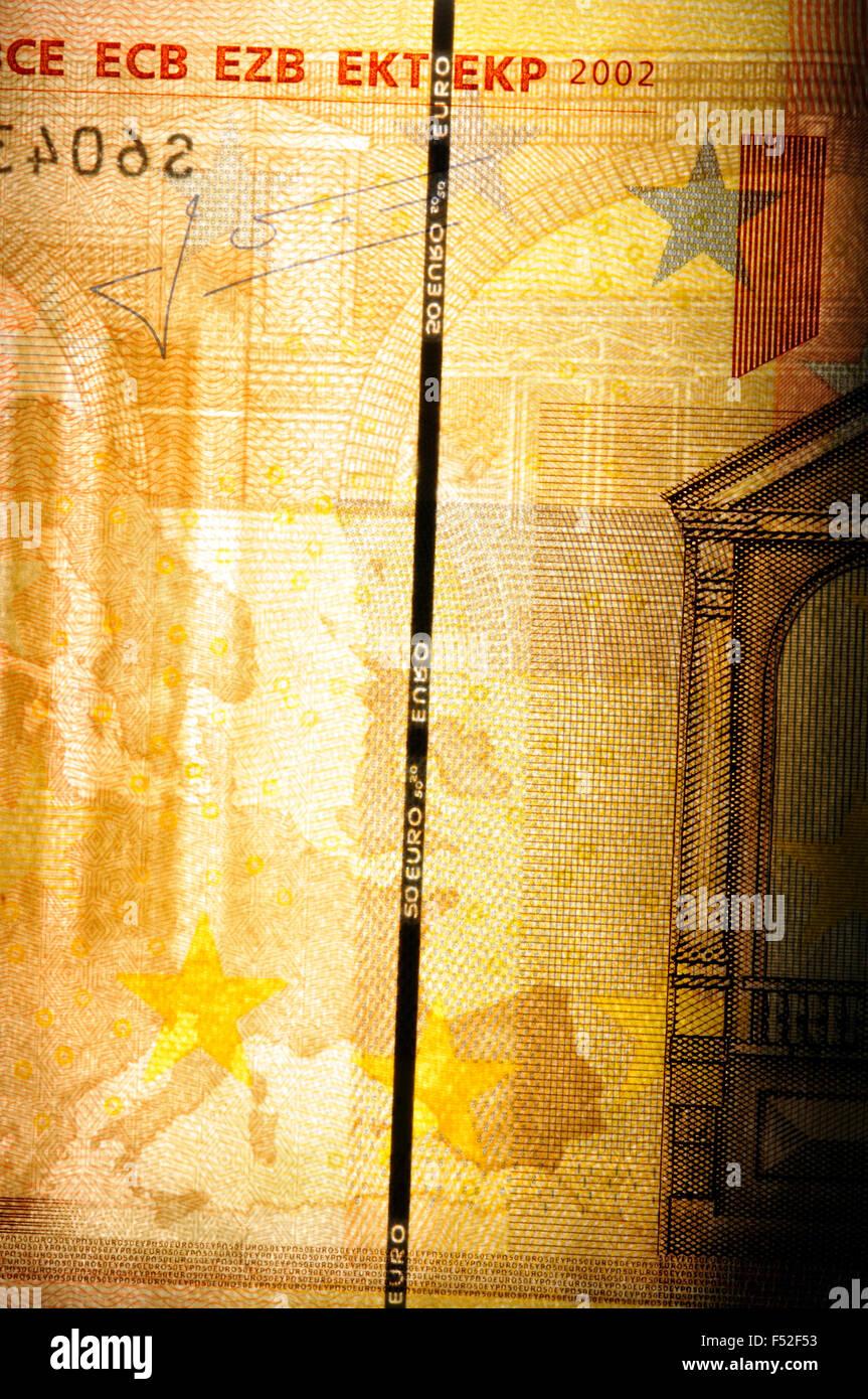 Marca de agua de cerca de cincuenta Billetes Imagen De Stock