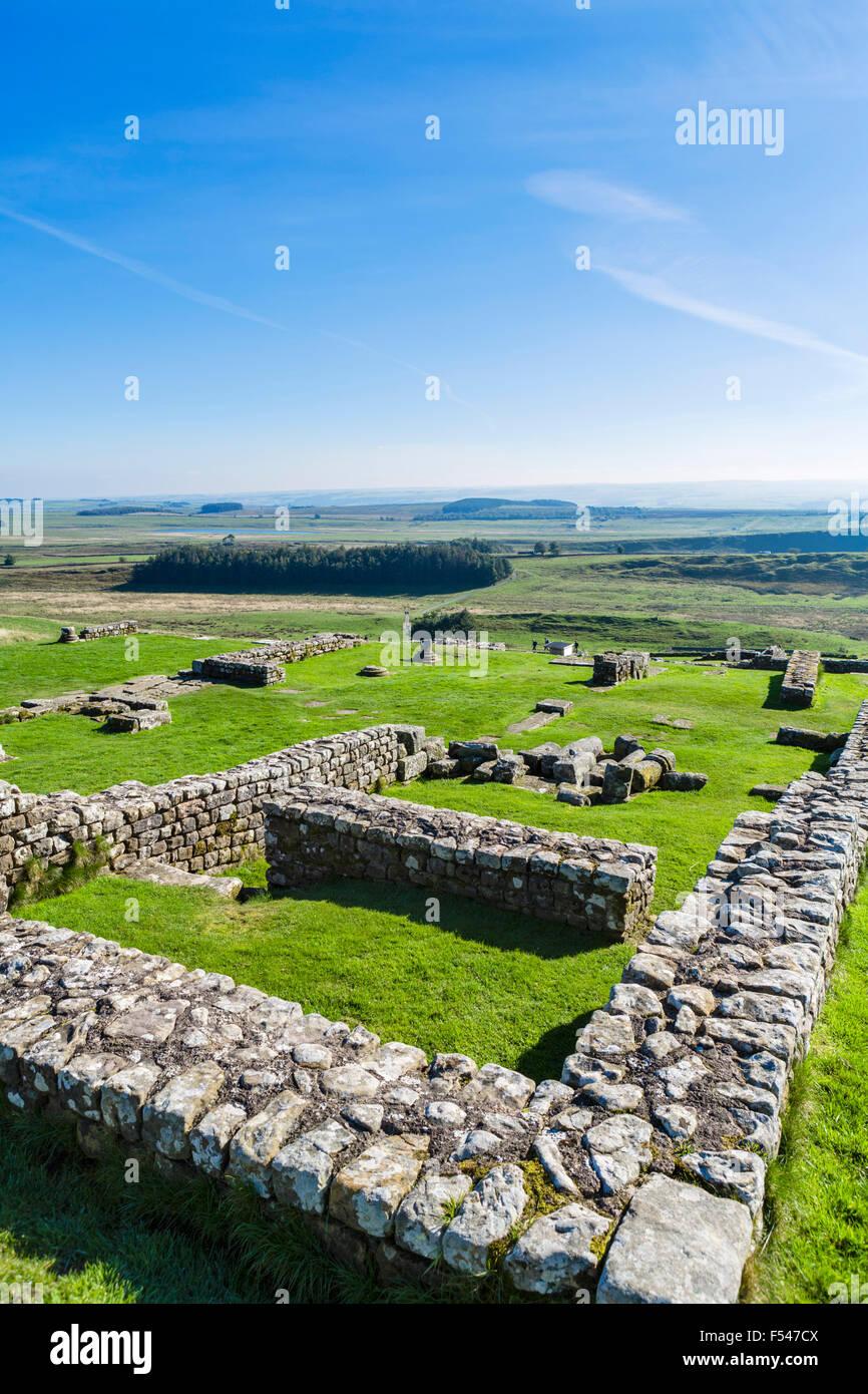 Housesteads Roman Fort en el Muro de Adriano, Northumberland, Inglaterra, Reino Unido. Imagen De Stock