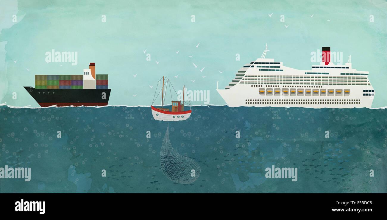Ilustración de barcos de vela en el mar Imagen De Stock