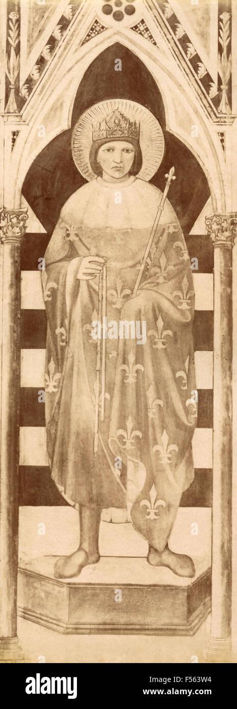 La iglesia de S. Croce, Florencia: San Luis Rey de Francia, por Giotto Foto de stock