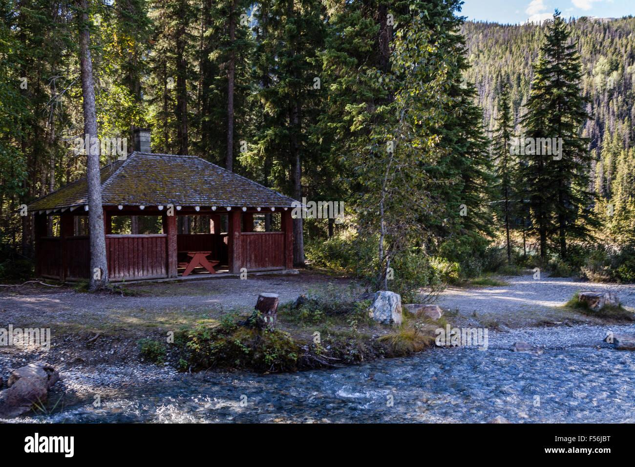 Casa de Cook, área de picnic y camping en la carretera a lo largo de la autopista, David Thompson en los bosques Foto de stock