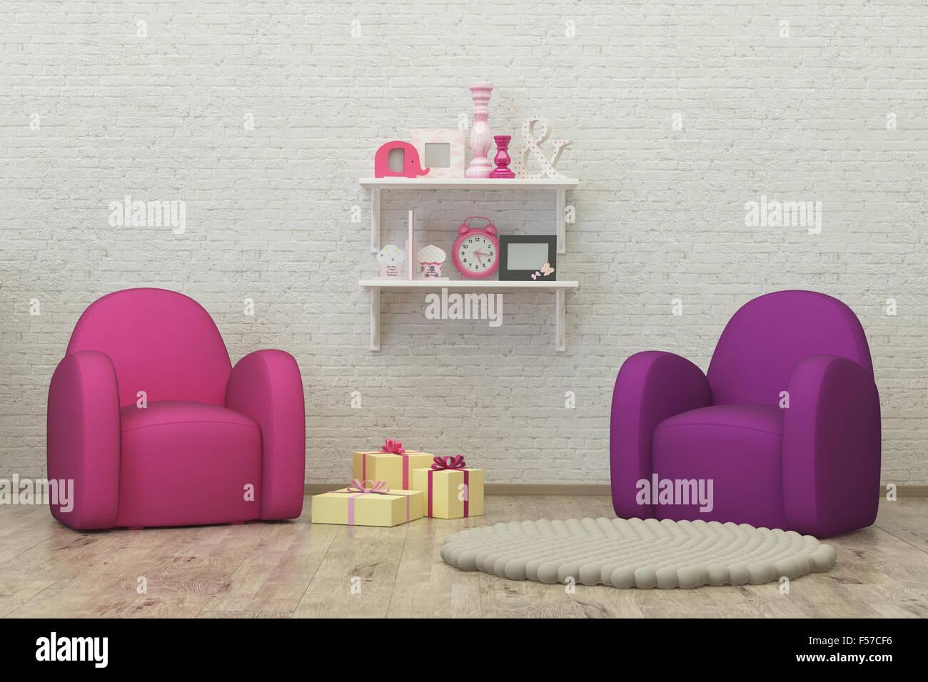 Sala infantil interior 3D Render imagen, pouf, presenta Imagen De Stock