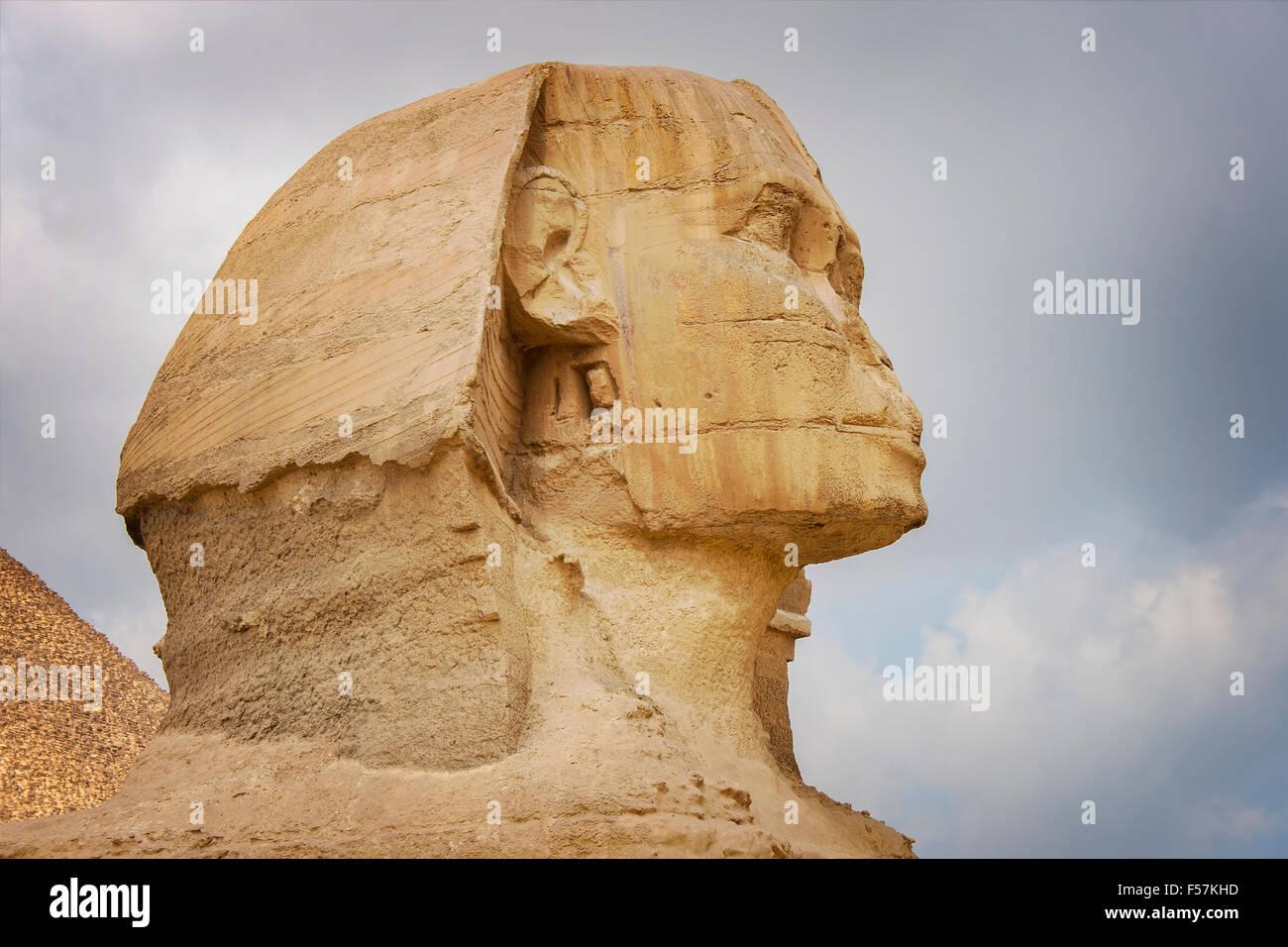 Imagen de la Esfinge de Egipto, El Cairo Gixa. Imagen De Stock