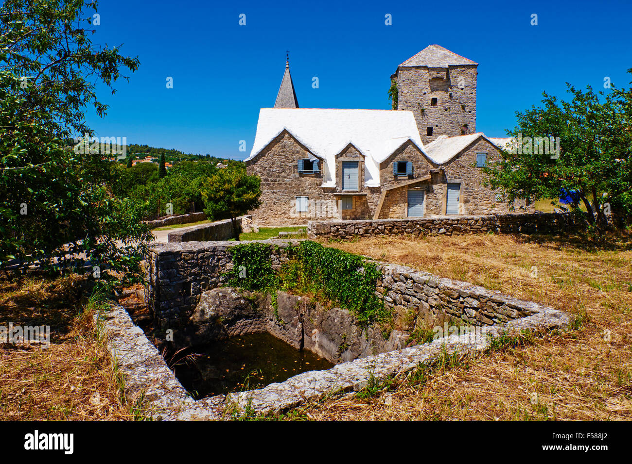 Croacia, Dalmacia Isla Brac, Skrip, antigua aldea Imagen De Stock