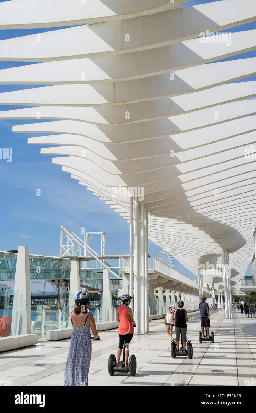 Paseos en segways mediante el Palmeral de las sorpresas promenade en el puerto. Málaga, Andalucía, España Imagen De Stock