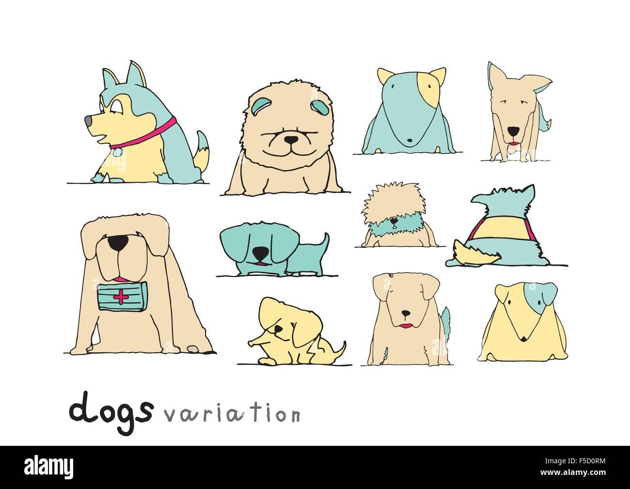 Perros variación doodle color pastel sobre fondo blanco. Imagen De Stock
