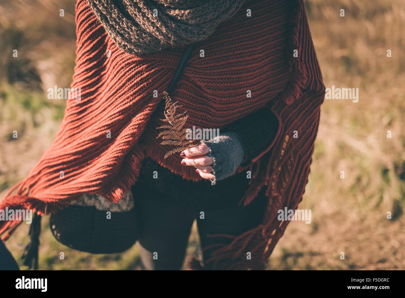 Mujer en la naturaleza la celebración de helecho seco Imagen De Stock