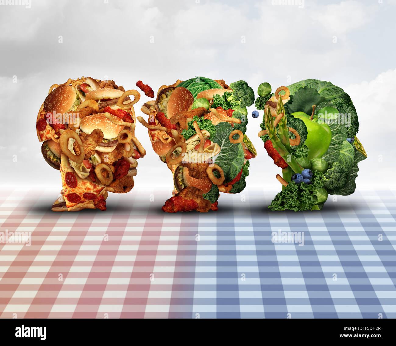 Cambiar la dieta saludable dieta logro concepto progreso cambio como símbolo de un estilo de vida saludable Imagen De Stock