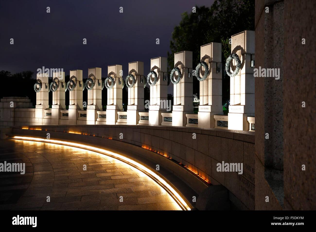 El Memorial de la Segunda Guerra Mundial, Washington, Distrito de Columbia, EE.UU. Imagen De Stock