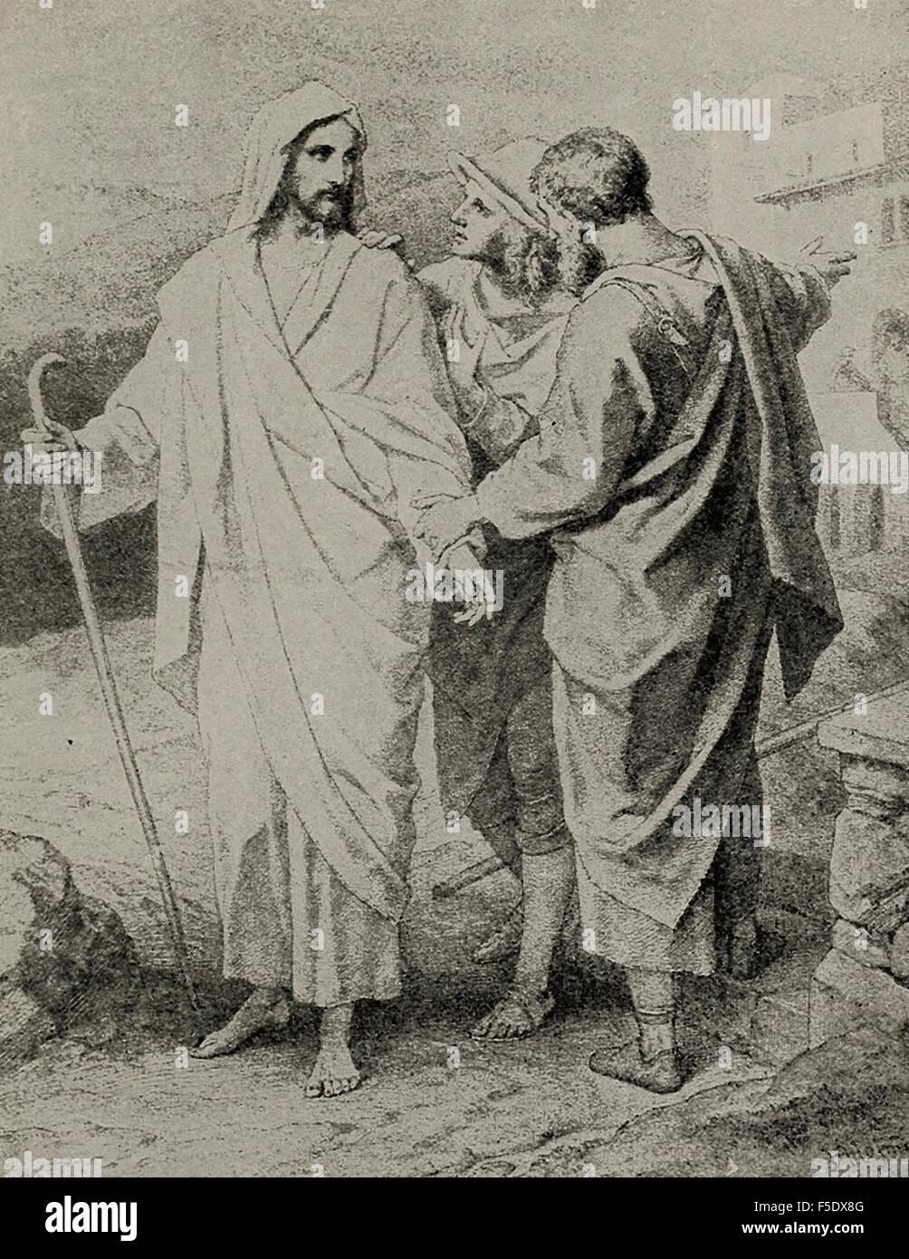 En el camino a Emaús - Jesucristo Resucitado sorprende a sus compañeros Foto de stock