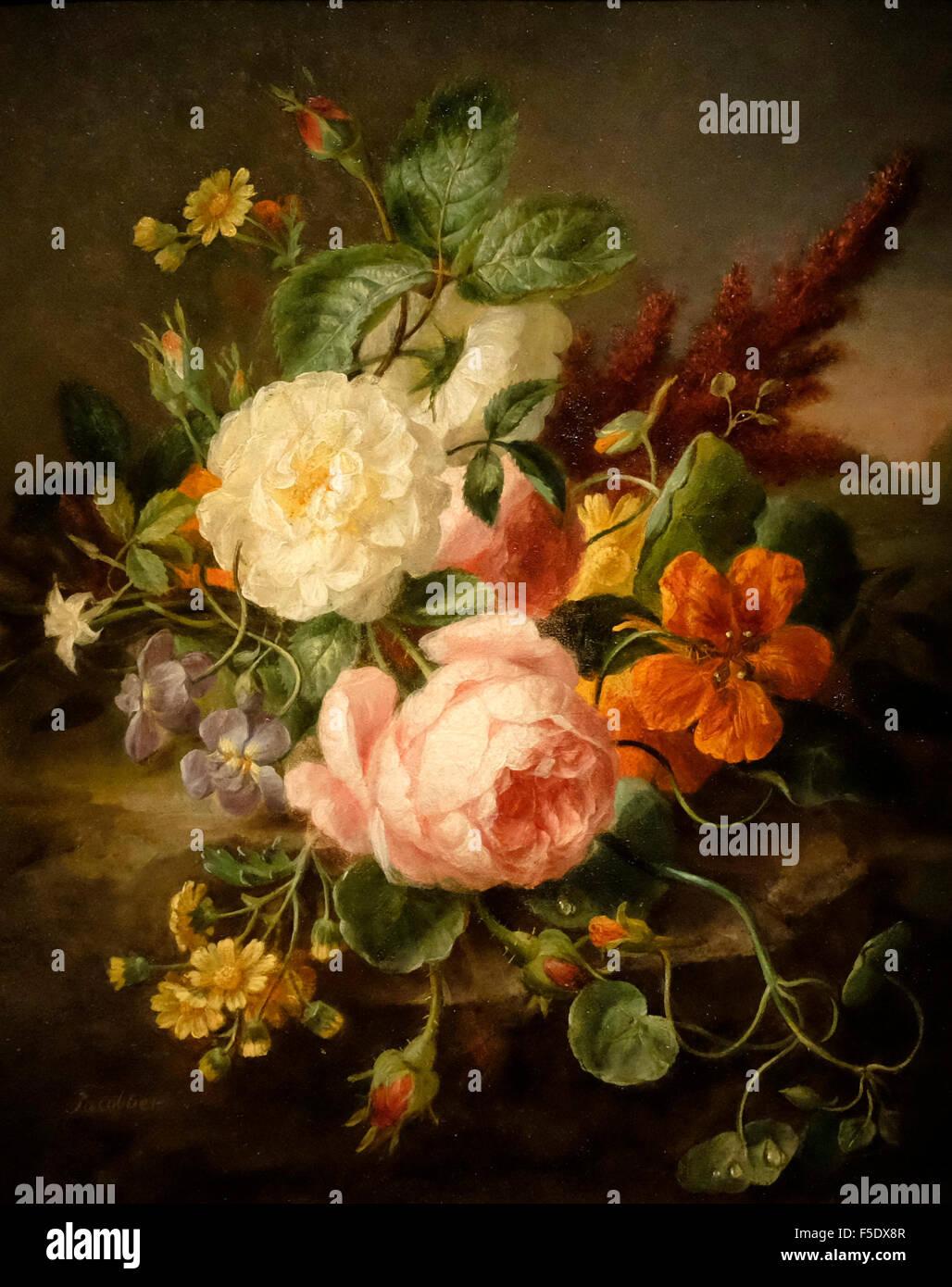 Bodegón con flores - Moise Jacobber Imagen De Stock