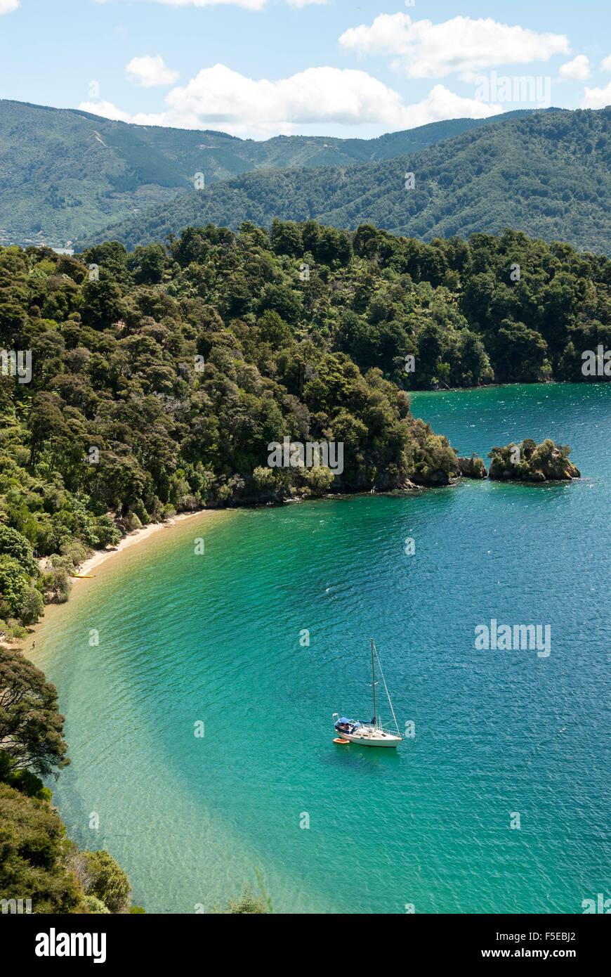 Okiwa Bay, Marlborough Sounds, Isla del Sur, Nueva Zelanda, el Pacífico Imagen De Stock