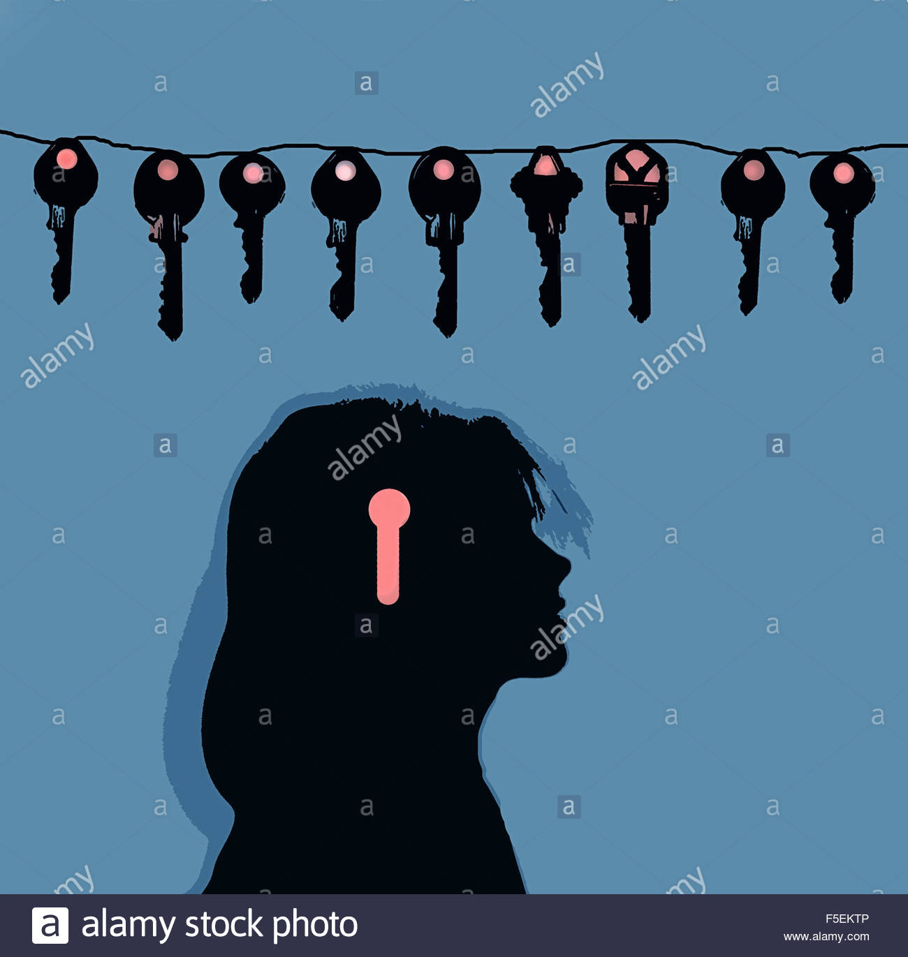 Línea de diferentes claves sobre el perfil de cabeza de mujer con keyhole Imagen De Stock