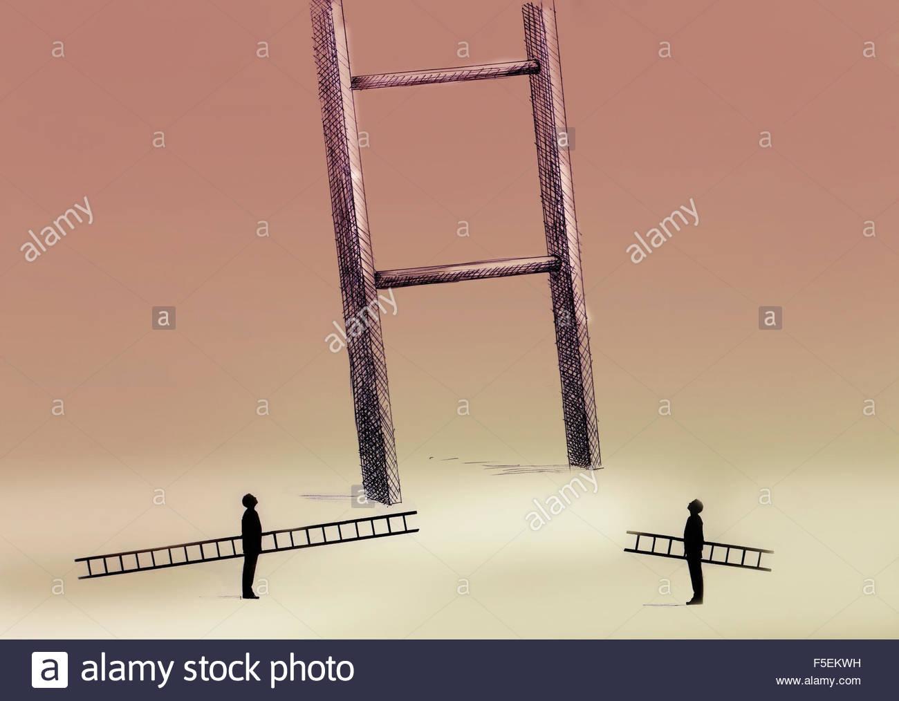 Dos hombres con pequeñas escaleras mirando hacia arriba a gran escalera Imagen De Stock