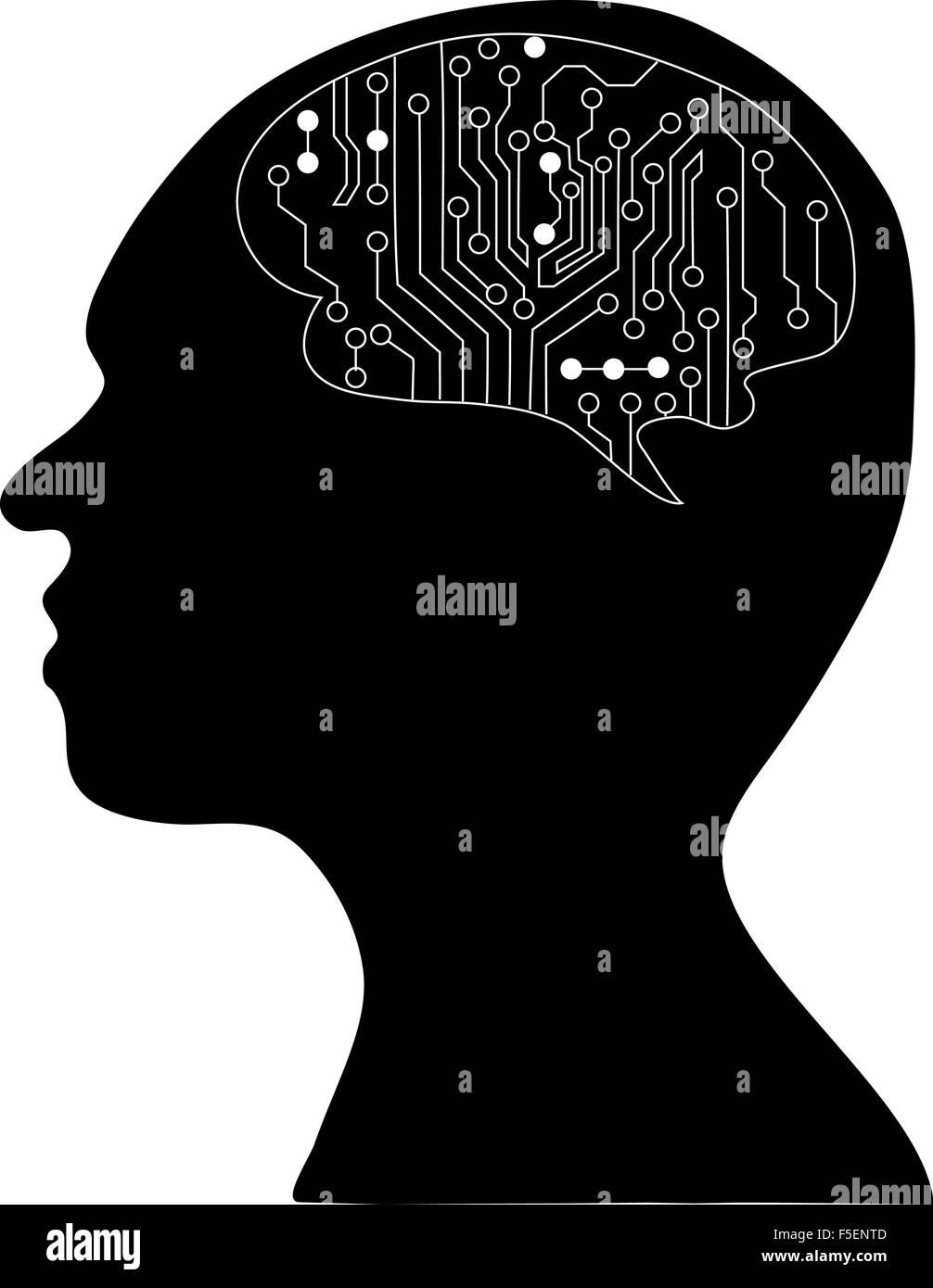 Cerebros tecnológicos . Eps Vector10.la silueta de la cabeza y el cerebro. proceso del pensamiento humano. Imagen De Stock