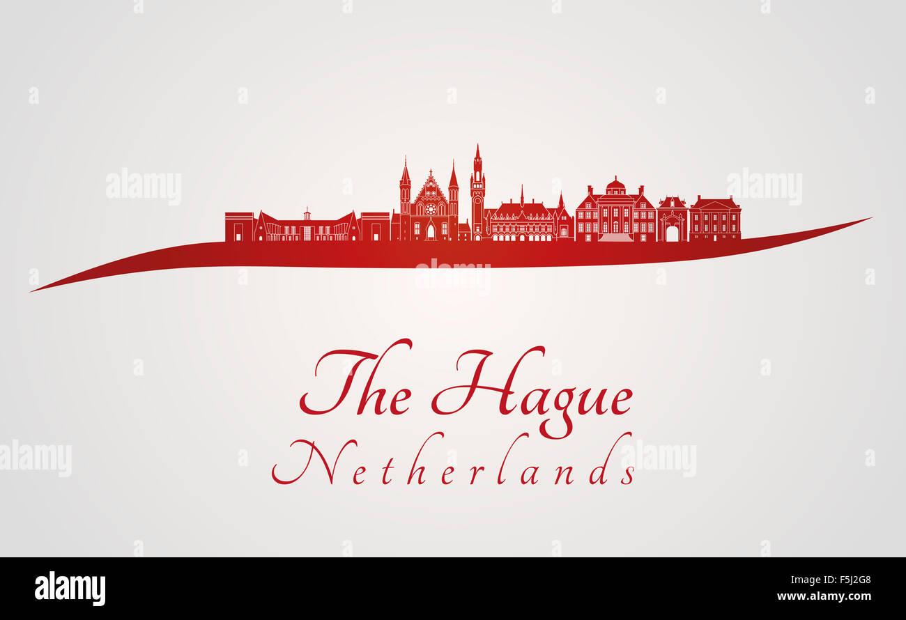 La Haya skyline en rojo y el fondo gris en archivo vectorial editable Foto de stock