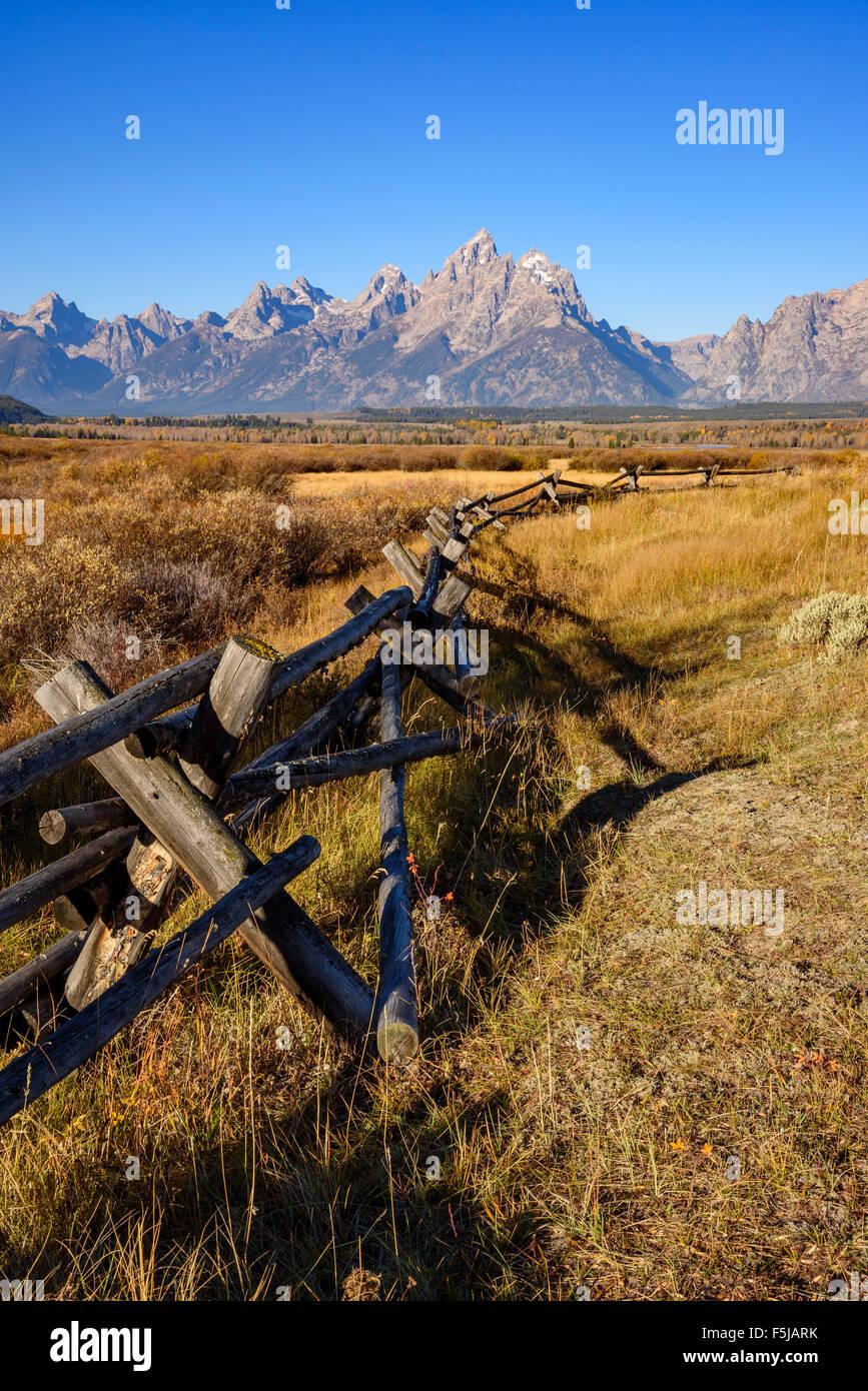 Rango cercado y Teton Range, Parque Nacional Grand Tetons, Wyoming, EE.UU. Imagen De Stock