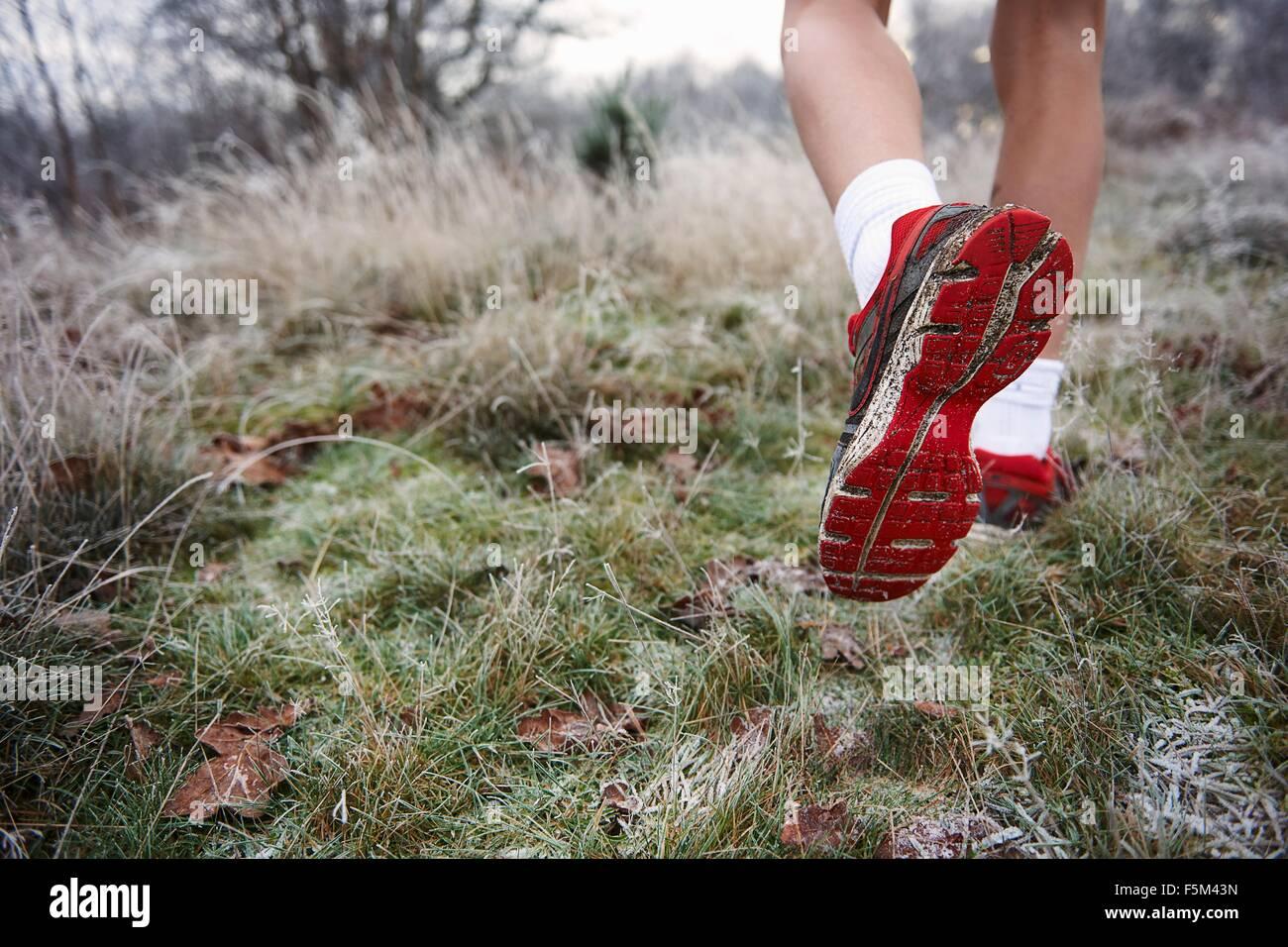 Vista trasera de los adolescentes varones en las piernas, el pie levantado, suela de zapato Foto de stock