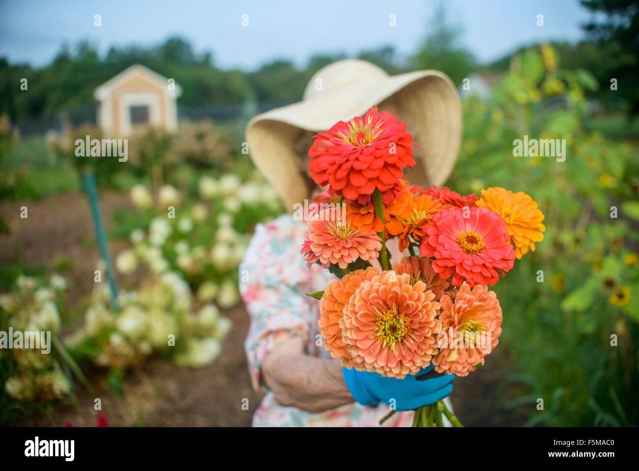Senior mujer sosteniendo flores en la parte delantera de la cara en la granja Foto de stock