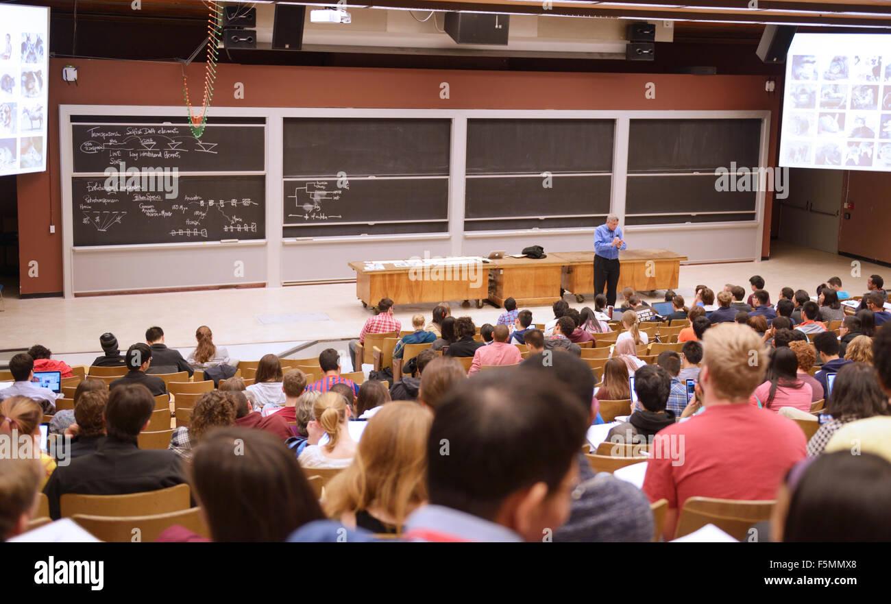 Aula universitaria. Cátedra de Biología con el profesor Eric Lander, MIT Imagen De Stock